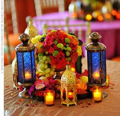 Are you using Moroccan lanterns for centerpieces? SHOW ME UR PICS! Table Centerpieces, Wedding Centerpieces, Wedding Table, Wedding Decorations, Table Decorations, Table Arrangements, Wedding Receptions, Flower Centerpieces, Floral Arrangements