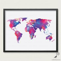 Watercolor World Map up to 24x36 Digital by WordBirdShop on Etsy