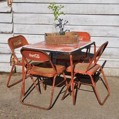 Coca Cola Chairs And Tables White Lounge Chair Cushions 23 Coke Vintage Table 4 Via Home Barn 500 00