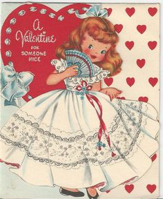 998 Pretty Glittered Girl Carries Her Hand Fan Vtg Valentine Greeting Card | eBay