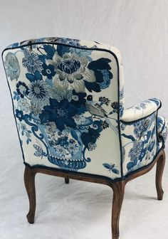 Excited to share this item from my shop: Available- Free Ship blue and white vintage chair reupholstered and refinished Plywood Furniture, Upholstered Furniture, Armoire Design, Floral Chair, Patterned Chair, Design Studio, Design Design, Wing Chair, Vintage Chairs