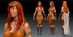 Female game character sculpt by Marco Valenzuela