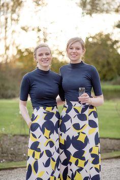 Bridesmaids in yellow and blue -   Delbury Hall Wedding - Ellie & Adam | Nicola Gough - Wedding Photography