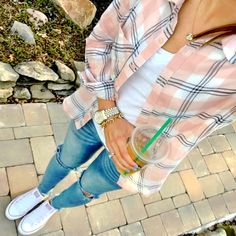 IG @mrscasual <click through to shop this look> plaid button down shirt. White tee. Ripped skinny jeans. Converse all stars.