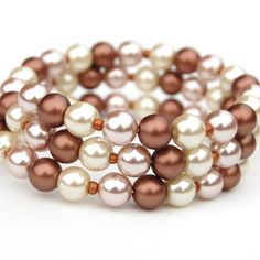 Coffee Latte and Ivory Pearl Memory Wire Bracelet by AMIdesigns, $19.00
