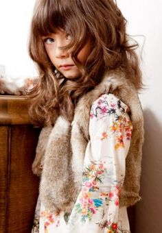 Floral blouse and neutral waistcoat Tween Fashion, Little Girl Fashion, My Little Girl, Bohemian Kids, Little Fashionista, Stylish Kids, Kid Styles, Girly Girl, Children Photography