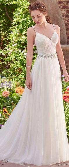 Romantic Tulle & Satin V-Neck A-Line Wedding Dresses With Beadings & Rhinestones