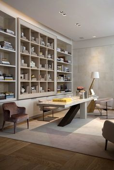 Living Room and Study Room Design. Living Room and Study Room Design. How to Decorate and Furnish A Small Study Room Home Office Design, Home Design, Office Decor, Office Inspo, Office Ideas, Design Ideas, Office Table, Table Desk, Library Design