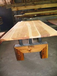 This beautiful modern table is perfect for a Bar table, Kitchen Island, Desk, or Conference Table. It can be fitted with or with out locking casters (pictured both ways). Pictures do not do it justice!  The top has 2-1/2 wide inserts in the Hickory top allow computer cords to drop down through the channels.The natural Rustic Appalachian Hickory hardwood is hard enough to last decades of residential industrial and commercial use.The base is Reclaimed Antique Heart Pine, salvaged from a lo...