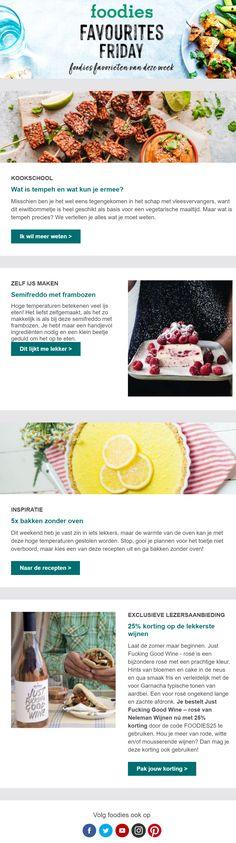 De nieuwsbrief van Foodies is interessant om naar te kijken door de verschillende indeling van de afbeeldingen. Foodies, Om