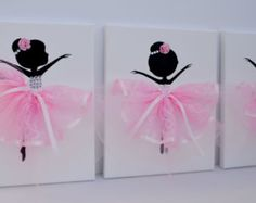 Dancing Ballerinas Wall Decor. Nursery wall art in Pink and