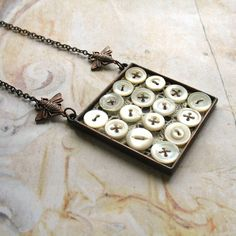 Perfect Day - Antiqued Copper, Vintage Buttons, Lace and Bees Handmade Necklace