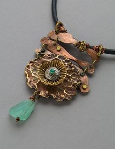 Copper, Bronze Necklace, Aquamarine 'Garden Series' Necklace on Etsy Copper Necklace, Metal Necklaces, Copper Jewelry, Wire Jewelry, Pendant Jewelry, Jewelry Art, Bling Jewelry, Jewelery, Handmade Jewelry