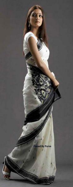 White and Black Saree - Tangail Sarees