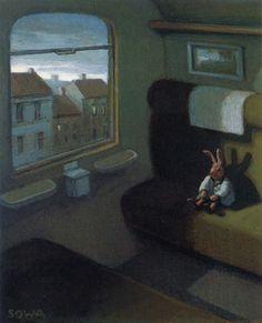 Rabbit on a Train (detail) - Michael Sowa - - Surrealism Michael Sowa, Amelie, Wilhelm Busch Museum, Illustrations, Illustration Art, Mary Cassatt, Surrealism Painting, Art Database, Art Graphique