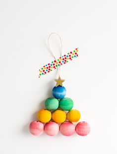 Rainbow Wooden Bead Tree Ornament from Hello, Wonderful
