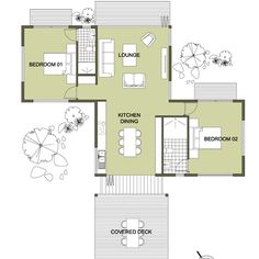 En-Suite Two Bedroom Open Plan Living: Small House Design by Ecomo Home