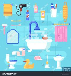Set flat icons of bath and toilet isolated Elements for bathroom interior Vector illustration eeps10