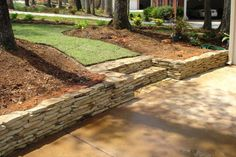 Brown Flagstone Dry Stack Wall and Steps Stone Retaining Wall, Retaining Walls, Outdoor Spaces, Outdoor Living, Dry Stack Stone, Flagstone, Stone Work, Walkway, Outdoor Gardens