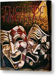 Theatre Masks Comedy And Tragedy Painting by Martha Bennett - Theatre Masks Comedy And Tragedy Fine Art Prints and Posters for Sale