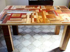 RECICLARPINTERIA Mesa desmontable hecha con recortes de madera