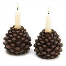 Pinecone candle holders