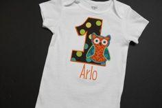 Custom Boy Owl Birthday Shirt or Onesie by browniesnbutterflies, $19.98