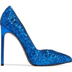 Saint Laurent Sequined textured-leather pumps ($300) ❤ liked on Polyvore featuring shoes, pumps, bright blue, bright blue shoes, high heeled footwear, yves saint laurent pumps, sequin slip on shoes and sequin pumps