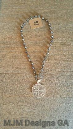 Large 1.50 St Benedict medal pendant on handwired by MJMDesignsGA