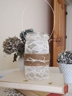 Shabby-Chic Lace Covered Mason Jar Lanterns @Briana Newsome This made me think of your wedding :)