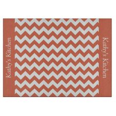 Terra Cotta Orange Chevron Glass Cutting Board ...............This design features a Terra Cotta Orange Chevron pattern. The TEXT on both sides (left and right) can be customized with your own name. Check out my store for more colors.