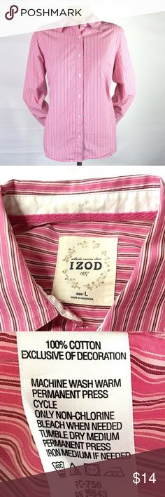 Izod 1937~Pink & White Striped Button Down Shirt Perfect for Spring! Women's~Izod 1937~Pink~Maroon~White Striped Button Down Shirt~Top~can be worn to the office, or with your favorite pair of jeans.  Ready to wear condition, Size Large, see pictures for measurements. 100% Cotton   OFFERS WELCOME! Items ship in 1 business day. Izod Tops Button Down Shirts