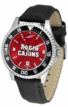 Louisiana Lafayette Men's Leather Wristwatch by SunTime. $78.95. Officially Licensed Louisiana at Lafayette Cajuns Men's Leather Wristwatch. AnoChrome Dial Enhances Team Logo And Overall Look. Men. Adjustable Band. Poly/Leather Band. College leather wristwatch with AnoChrome face. Louisiana Lafayette wrist watch has functional rotating bezel color-coordinated with team logo. A durable, long-lasting combination nylon/leather strap, together with a date calendar, roun...