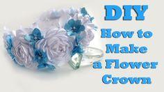 DIY How to make a flower crown of satin ribbon / Kanzashi