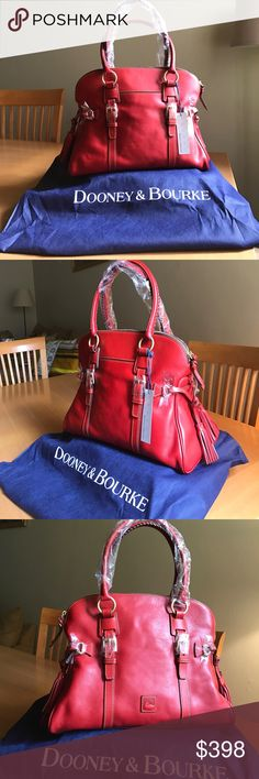 """Dooney & Bourke Florentine Domed Buckle Satchel Brand new! Never used, genuine leather, red tassel satchel. Amazing and on trend....roomy enough to hold all your essentials and more. Measurements: 15"""" H x 10"""" W x 6D. Fits comfortably on my shoulder and hits my hip...I'm 5' 8"""" tall. Dooney & Bourke Bags Shoulder Bags"""