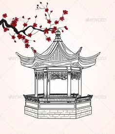 Oriental pavilion and sakura branch – EPS 10 vector – Hand drawn style and transparent blending effects. Japanese Drawings, Japanese Art, City Drawing, Painting & Drawing, Oriental, Art Sketches, Art Drawings, Samurai Warrior Tattoo, Japanese Pagoda