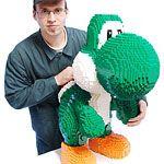 Well it looks like LEGO Mario has a new bricky dinosaur friend, in the form of LEGO Yoshi. Dirk took about 60 hours S Brick, Lego Brick, Legos, Yoshi, Lego Mario, Step On A Lego, Lego Sculptures, Lego Animals, Super Mario Art