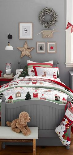 Holiday decorating isnt just about the tree. Give your little ones bed a playful dose of tis the season style with plenty of cozy layers. Festive sheets, pillows and quilts add a warming touch of holiday cheer that will inspire dreams of sugar plums, g Christmas Love, Country Christmas, Christmas Holidays, Christmas Decorations, Holiday Decorating, Decorating Ideas, Reindeer Christmas, Christmas Bedding, Awesome Bedrooms