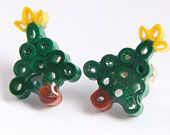 Christmas Tree Earrings Small Handmade by Paper Quilling Free Shipping Black Friday Sale Cyber Monday Etsy