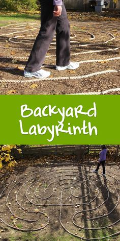 The special process of walking a labyrinth is a magical thing to have in your own backyard. This one is made out of rope and steel stakes. Relatively low cost, easy to install, and semi-permanent.