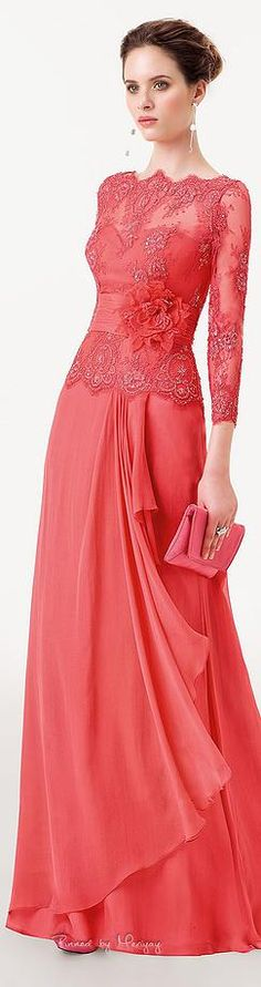 Aire Barcelona: deep rose pink and scarlet looks fabulous. Elegant Dresses, Pretty Dresses, Formal Dresses, Beautiful Gowns, Beautiful Outfits, Lace Dress, Dress Up, Kebaya Dress, Elie Saab Couture