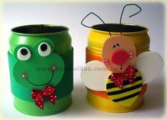 "Képtalálat a következőre: ""Frog Pen Container Holder"" Kids Crafts, Bee Crafts, Foam Crafts, Diy And Crafts, Arts And Crafts, Paper Towel Crafts, Kids Market, Soda Can Art, Crayon Holder"