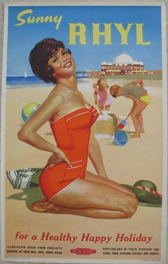 Poster, British Railways `Sunny Rhyl - For a Healthy Happy Holiday` by Leonard, D/R British Travel, British Seaside, Railway Posters, Travel Posters, Beach Posters, Cairngorms, Train Service, Vintage Air, North Wales