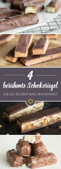 4 berühmte Schokoriegel, die du zuhause selber machen kannst Whether Snickers, Twix or Bounty – the chocolate bars can be produced in the local kitchen without much effort or special equipment. Ma Baker, Famous Chocolate, Chocolate Bars, Bounty Chocolate, Cake Vegan, Sweets Cake, Vegan Sweets, Cookies, Diy Food