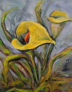 DPW Fine Art Friendly Auctions - Yellow Lily by Mary Schiros