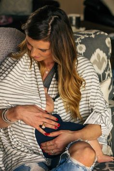 The NüRoo Nursing Scarf - convertible scarf that goes from infinity loop scarf for mom, into a breastfeeding cover for privacy while nursing for mom and baby