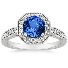 Platinum Sapphire Victorian Halo Ring from Brilliant Earth