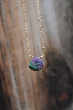 Rare Ruby-Zoisite gemstone pendant with the option of rose gold-filled, 14kt gold-filled, or sterling silver chain.