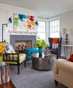 House of Turquoise: Rachel Reider Interiors - eclectic blue, orange & green living room