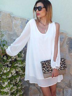 Women Loose Long Sleeve Summer Beach Chiffon Casual Mini Dress Sundress LXL02